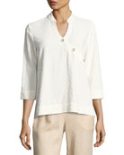 Textured Linen-Blend 3/4-Sleeve Top, Petite