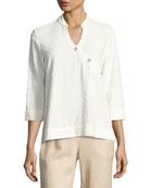 Textured Linen-Blend 3/4-Sleeve Top, Plus Size