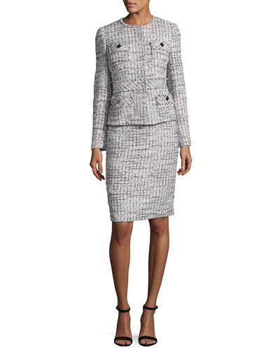Tweed Jacket w/ Pencil Skirt, Multicolor