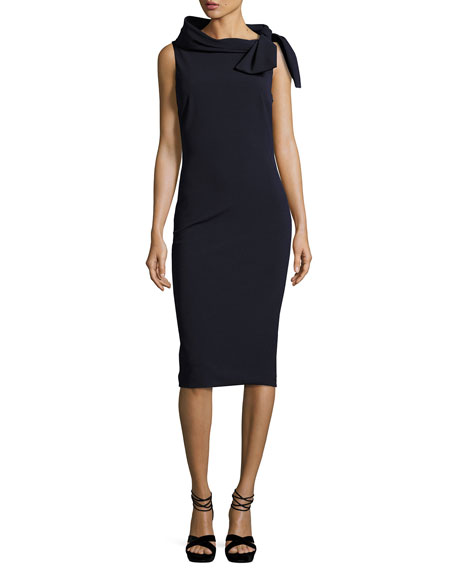Badgley Mischka Collection Sleeveless Tie-Neck Cocktail Dress