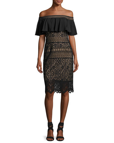 Off-the-Shoulder Crochet Lace Cocktail Dress, Black