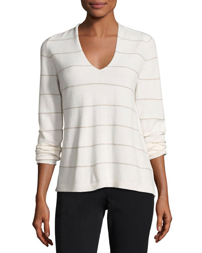 V-Neck Striped Cashmere Sweater, Cloud Multi