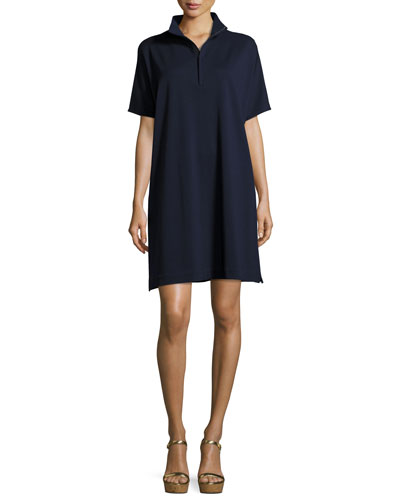 Short-Sleeve Pique Dress