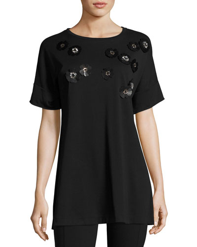 Short-Sleeve Tunic w/ Paillette Flowers, Black, Petite