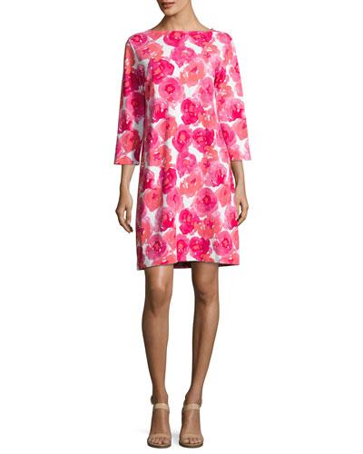 3/4-Sleeve Floral-Print Dress, Petite