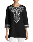 3/4-Sleeve Cotton Interlock Embroidered Tunic, Black/White, Petite