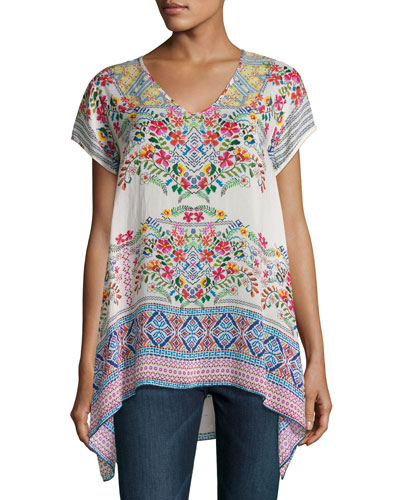 Trends Short-Sleeve Printed Top, Petite