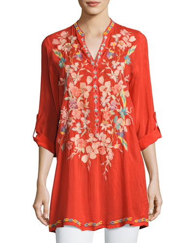 Nikky Embroidered Georgette Long Tunic, Orange, Petite