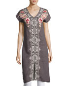 Christine Front-Slit Linen Dress, Gray, Plus Size