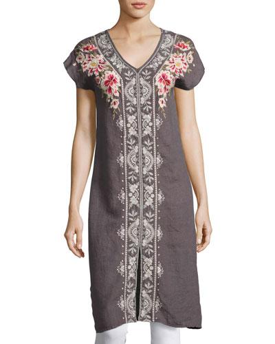 Christine Front-Slit Linen Dress, Gray, Plus Size