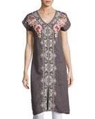 Christine Front-Slit Linen Dress, Gray, Petite