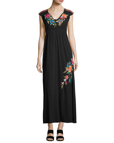 Lucia Embroidered Jersey Maxi Dress, Black