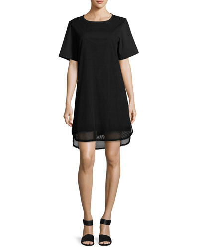 Shawn Short-Sleeve Mesh Dress, Black