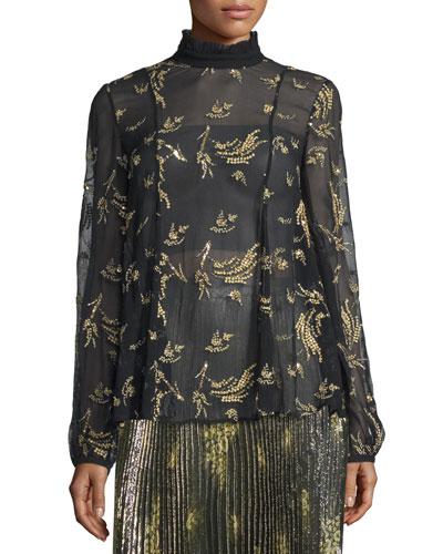 Long-Sleeve Sheer Floral Silk Chiffon Top, Black/Gold
