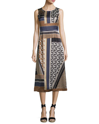Sebella Sleeveless Piazetta Patchwork Silk Midi Dress, Ink Multi