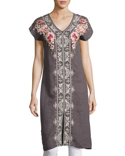 Christine Front-Slit Linen Dress, Gray