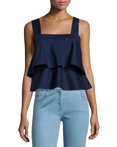 Chelsea Ruffled Poplin Crop Top, Navy Sea