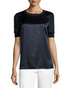 Brona Short-Sleeve Luxe Silk Charmeuse Blouse