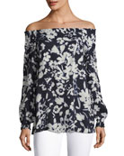 Raelyn Off-the-Shoulder Floral-Print Blouse, Ink Multi