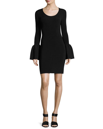 Willomena Bell-Sleeve Ponte Mini Dress, Black