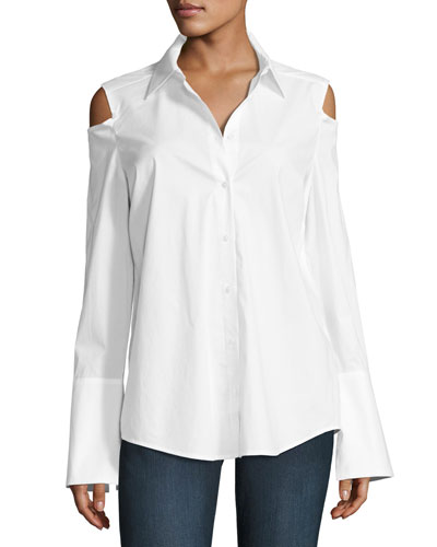Carlotta Cold-Shoulder Button-Front Blouse, White