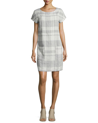 Airy Organic Linen/Cotton Plaid Shift Dress, Chambray