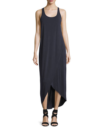Boardwalk Sleeveless Faux-Wrap Knit Dress, Washed Midnight, Petite