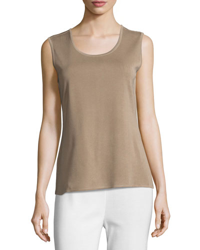 Scoop-Neck Tank, Light Brown, Plus Size