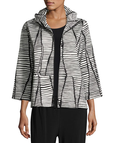 Petite Lines & Vines Zip Jacket, Black/White
