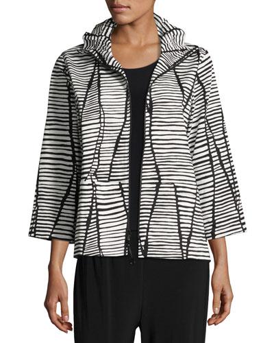 Plus Size Lines & Vines Zip Jacket, Black/White