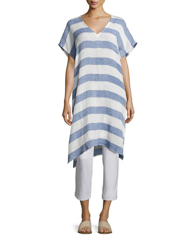 Striped Organic Linen Gauze V-Neck Tunic, Chambray, Petite