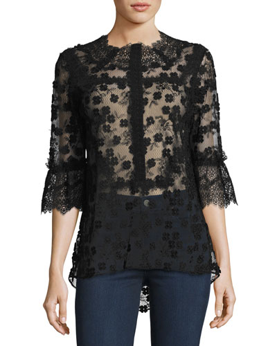 Magda 3/4-Sleeve Lace Blouse, Black