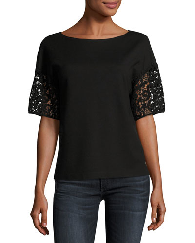 Lightweight Punto Milano Lace-Sleeve Top, Black