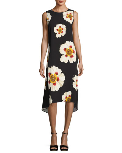 Romona Sleeveless Artful Floral-Print Dress, Multi