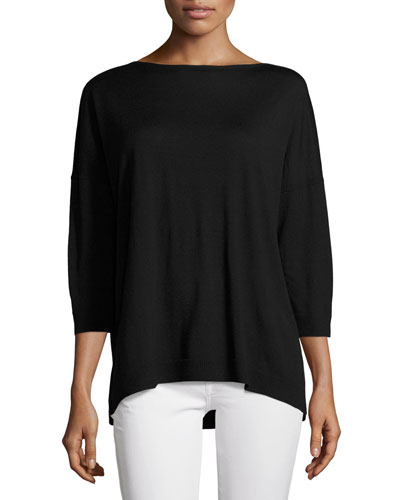 Bateau-Neck Oversized Merino Wool Sweater, Black