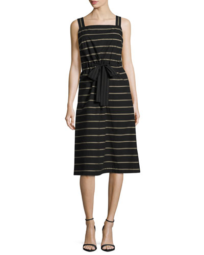 Lorelei Sleeveless Vesterbo Striped Cotton Dress, Black Multi