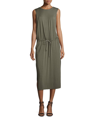 Sleeveless Jersey Midi Dress, Dark Safari