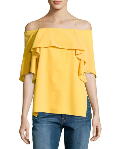 Flowy Cold-Shoulder Top, Marigold