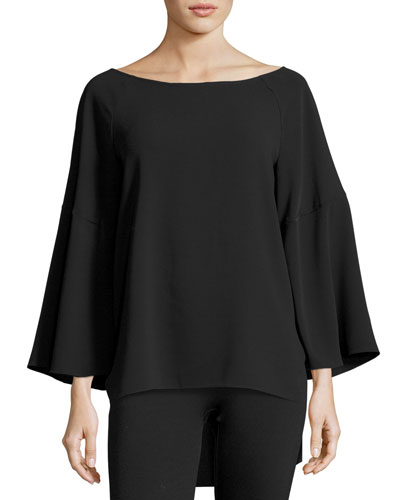 Flounce-Sleeve Boatneck Tunic Top, Black
