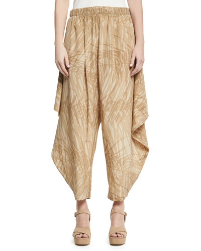 Printed Flowy Ruched Pants, Khaki Botanical