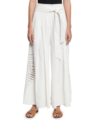 Lulu Wide-Leg Embroidered Pants, White