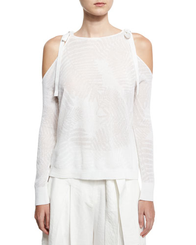 Sasha Palm Leaf Jacquard Sweater, White