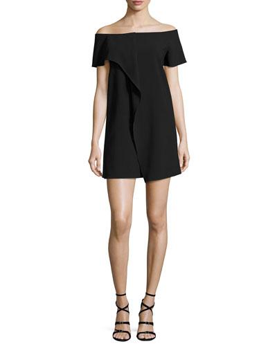 Off-the-Shoulder Asymmetric Draped Dress