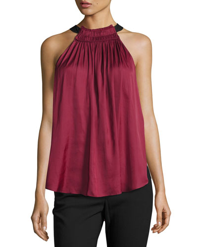 Sleeveless Halter-Neck Ruched Top, Dark Wildberry