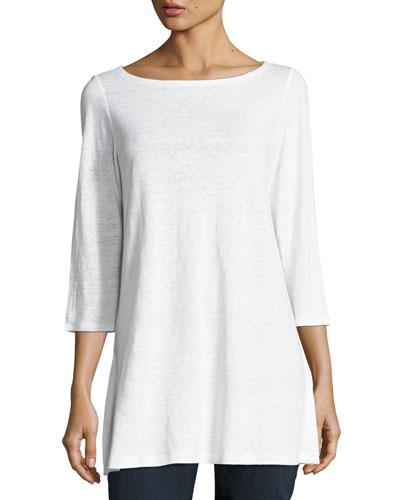 3/4-Sleeve Organic Linen Tunic, Petite