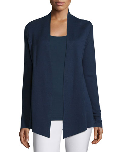 Silk-Organic/Cotton Open Cardigan, Midnight, Plus Size