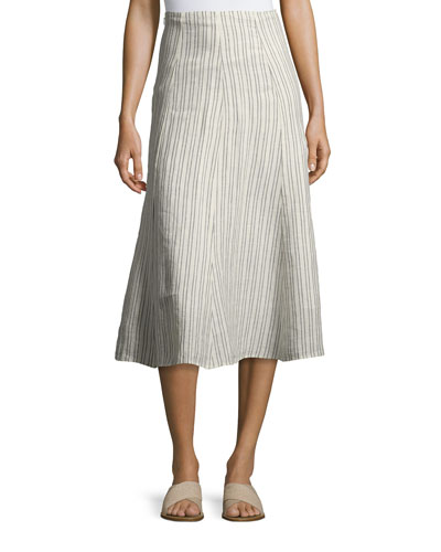 Zimri Narrow Striped Linen Skirt, White