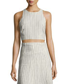 Nikayla Narrow Striped Linen Top, White