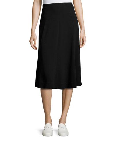 Zimri Crepe Midi Skirt, Black