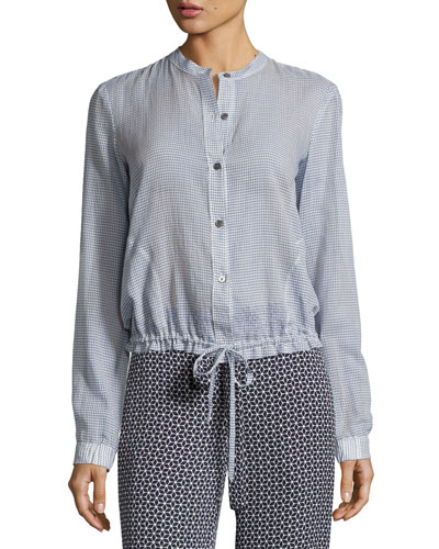Minitivie Long-Sleeve Checkered Top, Blue